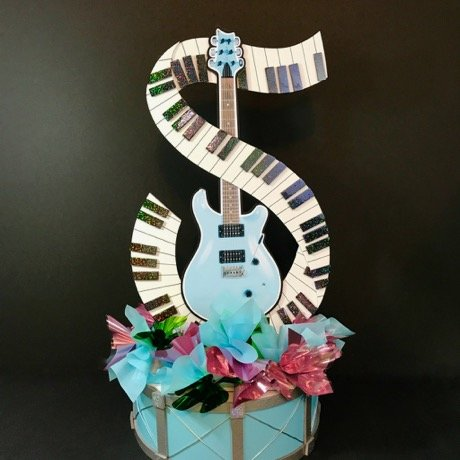 drum and guitar in baby blue with piano keyboard