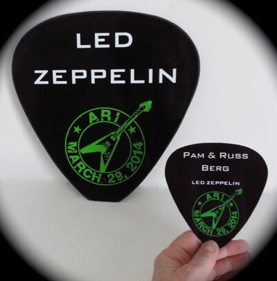 place card guitar picks with custom logo