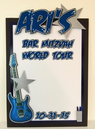 Bar Mitzvah World Tour sign in board