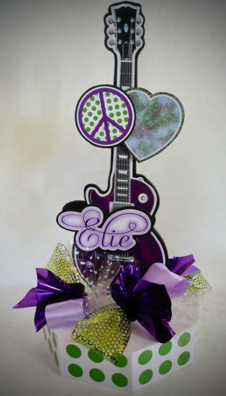 girly girl sixties guitar centerpiece on octagon base