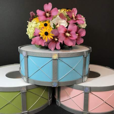 3D drum bases for party centerpieces